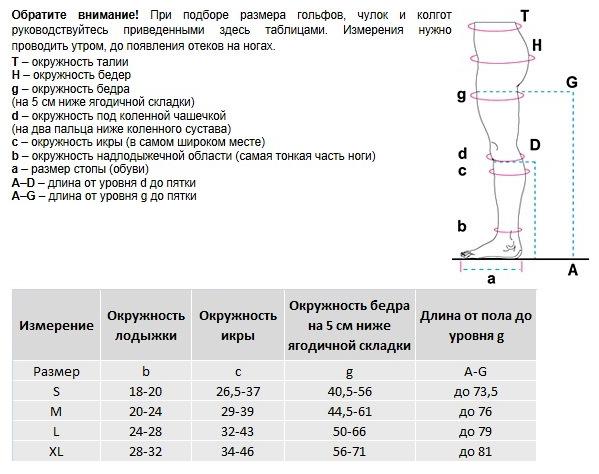 Мужские компрессионные чулки VENOTEKS 2C213 таблица размеров