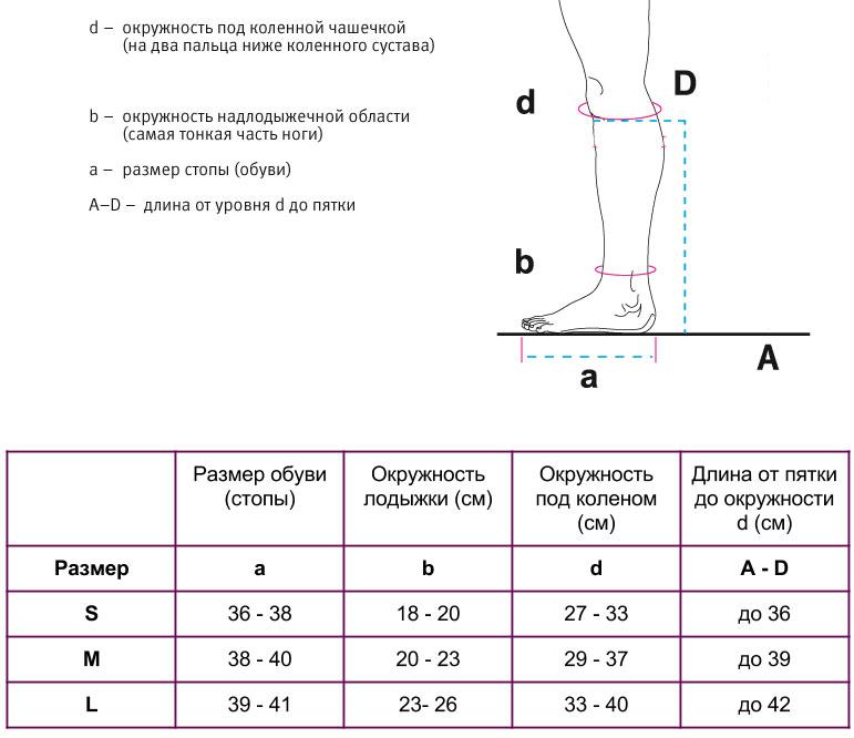 Таблица размеров компрессионных гольф Венотекс с хлопоком